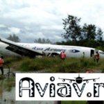 Грузовой Boeing остановился в ручье